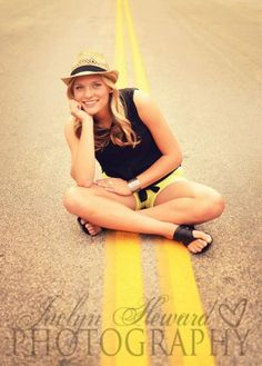 In the middle of the road. senior girl picture idea.
