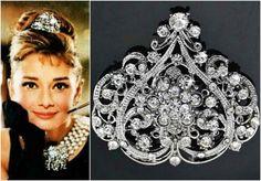 Audrey Hepburn headpiece Audrey Hepburn Inspired in Breakfast at Tiffany's, Audrey Hepburn Costume, rhinestone Swarovski Crystal headpiece