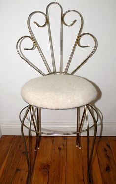 RESERVED for REBECCA Vintage Chair Vanity Dressing Table Chair ...