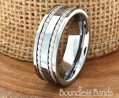Tungsten Ring Double Braided Any Design Wedding by BoundlessBands