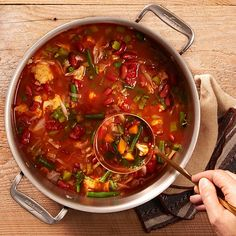 FACT: People consumed the fewest calories on days when they ate soup rather than the same ingredients in solid form. ANOTHER FACT:  People who started lunch with vegetable soup ended up eating 20 percent less than those who skipped the soup. Get the recipe for Veggistrone Soup right here!