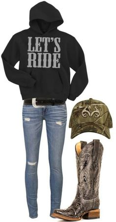 """Lets Ride"" Like the sweatshirt, not the skinny jeans. I love the boots and the sweatshirt and the hat maybe some other jeans then skinny Country Girl Outfits, Country Girl Style, Country Fashion, Cowgirl Outfits, Country Girls, Cowgirl Clothing, Cowgirl Fashion, Cowgirl Jewelry, Country Girl Clothing"