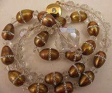 """18"""" Necklace of Gold Cultured Pearls Ringed w/ Swarovski Crystals"""