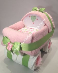Yes it's made from Diapers...Baby Carriage Diaper Cake #diapers #babyshower #carriage