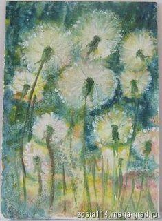 """живопись акриловыми красками. Картина """"Одуванчики"""", автор Serafima."""
