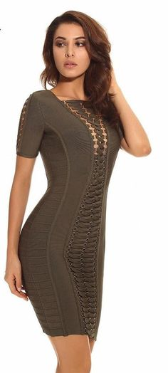 9c9a0371a8f Eyelet fantasy bandage dress in olive green