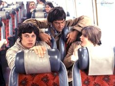 """Patrick Troughton, Frazer Hines and Deborah Watling on a bus, probably to or from """"The Abominable Snowmen"""""""