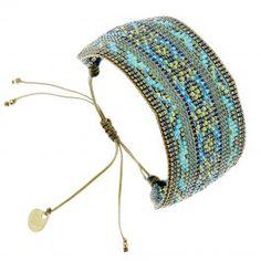 Bracelet manchette large Diamond (turquoise et marron) - Bijoux Fantaisie Créateurs