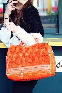 Orange Down Handbag Shoulder Bag