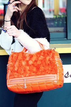Orange Down Handbag Shoulder Bag