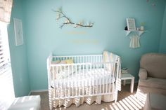 "Design Dazzle: Baby Nursery: The Littlest Birds Sing The Prettiest Songs - Behr Ultra in ""Balmy Seas"" for paint color"