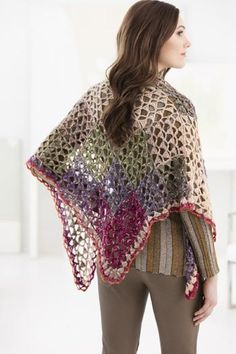 Free Crochet Pattern L50251 Lacy Squares Shawl : Lion Brand Yarn Company, wrap, #haken, gratis patroon (Engels), omslagdoek, #haakpatroon