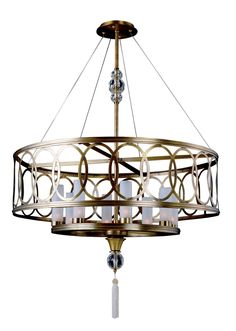 Features:  -Dorrit collection.  -Finish: Antique Brass.  -Style: Modern.  -Rated for interior locations.  -Accommodates 8 x 40W G9 xenon bulb (included).  -UL, cUL listed.  Product Type: -Drum pendant