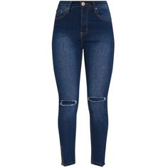 Dark Wash Knee Rip High Waisted Skinny Jean ($40) ❤ liked on Polyvore featuring jeans, high waisted skinny jeans, distressed skinny jeans, ripped jeans, high rise skinny jeans and high-waisted jeans