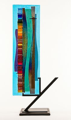 Turquoise Waterfall Sculpture I by Alicia Kelemen: Art Glass Sculpture available at www.artfulhome.com
