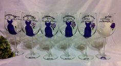 6 Bridesmaid Dress Wine Glasses by thepaintedflower on Etsy, $114.00