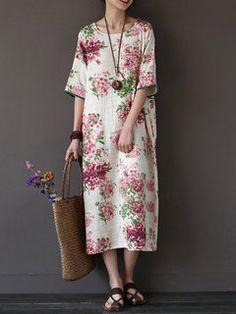 5fdd30036a3 Vintage Literature Floral Printed Long Robe Women Dresses High Quality  O-Neck Loose Cotton Linen Dress Female Flower Vestido