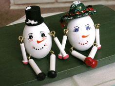 Wooden Egg Snowman Couple w/ Dangley Legs  by dazzledbyvintage, $14.00