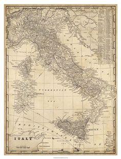 Antique Map of Italy at FramedArt.com