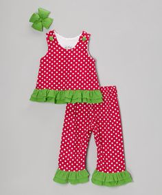 Take a look at this Pink Polka Dot Corduroy Sleeveless Top Set - Infant, Toddler & Girls by Molly Pop Inc. on #zulily today!