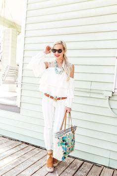 white ruffled cold shoulder top + light blue striped skiiny jeans  |  Vandi Fair