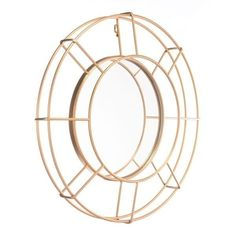 Goa Chic Gold Steel Open-wire Oval Wall Mirror