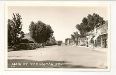 RPPC Postcard Cars Gas Pumps Garage Main Street Yerington NV Nevada