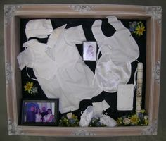 Baby Baptism Christening keepsake shadow box with preserved, freeze-dried flowers by Floral Keepsakes  http://www.facebook.com/FloralKeepsakesBoutique