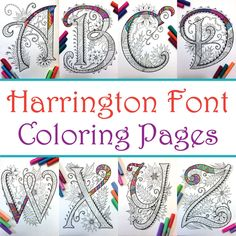 Harrington Font – Printable Zentangle Alphabet & Number Coloring Pages Uppercase Alphabet, Hand Lettering Alphabet, Calligraphy Alphabet, Alphabet And Numbers, Graffiti Alphabet, Islamic Calligraphy, Quilling Patterns, Doodle Patterns, Tangle Patterns