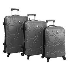 Heys Eco Orbis Luggage Set 3PC Expandable Hardcase Pewter Gray Spinner Suitcases #Heys