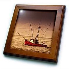 """Alaskan Fishing Trawler - 8x8 Framed Tile by Boehm. $22.99. Inset high gloss 6"""" x 6"""" ceramic tile.. Solid wood frame. Dimensions: 8"""" H x 8"""" W x 1/2"""" D. Cherry Finish. Keyhole in the back of frame allows for easy hanging.. Alaskan Fishing Trawler Framed Tile is 8"""" x 8"""" with a 6"""" x 6"""" high gloss inset ceramic tile, surrounded by a solid wood frame with predrilled keyhole for easy wall mounting."""