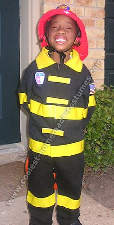 Firefighter Costume: Made from black sweat pants and shirt, duct tape and felt. Wow!