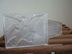 Vintage Verlys Crystal art deco box Swallows design