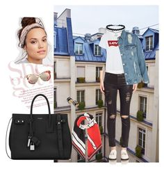 """""""Untitled #1274"""" by giselaturca on Polyvore featuring Levi's, 7 For All Mankind, Topshop, Yves Saint Laurent, Givenchy, Free People, First People First and Gucci"""