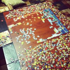 Together, Peg and Jenna have finished nearly five 1,000 piece puzzles. They are currently working on a 500 piece, too.