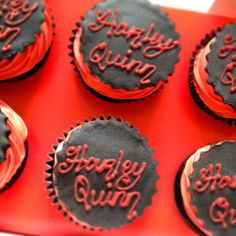 Harley Quinn cupcakes for a Christening