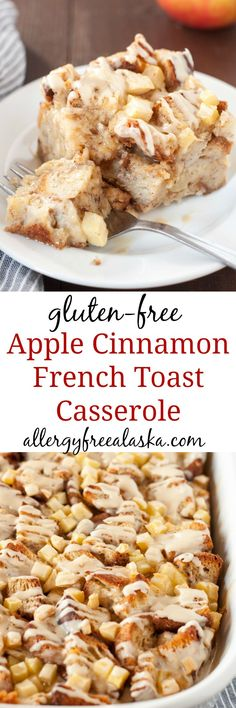 This Gluten Free Apple Cinnamon French Toast Casserole is bursting with the flavors of fall. Tart pieces of apple and cubes of soft bread are slathered in a deliciously sweet maple glaze. This casserole is sure to be a hit, anytime of day!