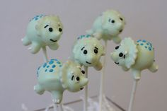 Triceratops Dinosaur Cake Pops by Sweet Lauren Cakes, via Flickr