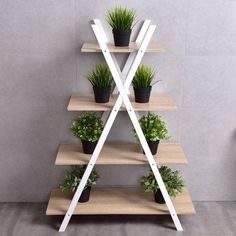 Costway Bookshelf Shelves X-Shape 4 Tier Ladder Storage Bookcase Display Home Office Image 3 of 7 Ladder Display, Ladder Storage, Bookshelf Storage, Display Shelves, Ladder Decor, Ladder Bookcase, Display Wall, Hanging Storage, Shelving