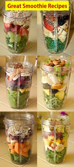 Check out these six pictorial recipes. Make your own great smoothies using these recipes. #smoothies