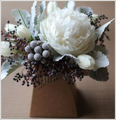 white/ light pink peonies for bouquets, perhaps with more deep greens and purples for forest look