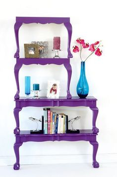Cut your table into a shelf.  @Maizie Parker   Maizie, this would be cute with those tables your mom wants to sell.