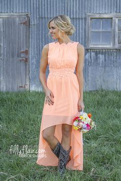 Romance in High Low in Peach. A country bridesmaid dress with boots that would be ideal for your country wedding! Country Style Wedding Dresses, Country Bridesmaid Dresses, Prom Dresses, Peach Dresses, Casual Bridesmaid, Dresses 2016, Country Weddings, Redneck Weddings, Beach Bridesmaids