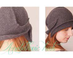 Grigio sentiva cloche vintage stile cappello fatto a mano negli anni venti donne di stile