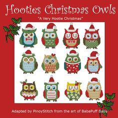 Hooties Christmas Owls Mini Collection Cross Stitch by PinoyStitch