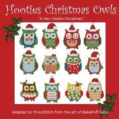 Hooties Christmas Owls Mini Collection Cross Stitch от PinoyStitch