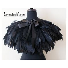 Couture Black Goose Feather Capelet Wrap - Laveder Faye ($90) ❤ liked on Polyvore
