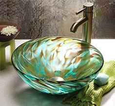 """Aqua Iris""    A luminous piece of fine glass art, doubling as a glass sink. beautiful bathroom"