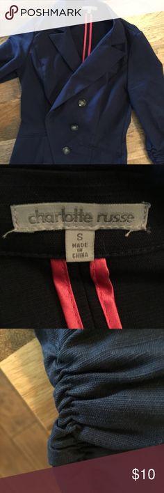 Charlotte Russe Navy Blazer Size S Charlotte Russe Navy Blazer Size S. Rushing details on the sleeves Charlotte Russe Jackets & Coats Blazers