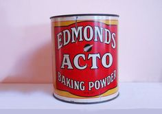 Edmonds Acto Baking Powder tin 170 mm H copy Kiwiana, Cook Books, Food Labels, What Is Like, Ephemera, Dollhouse Miniatures, New Zealand, Biscuits, Tin